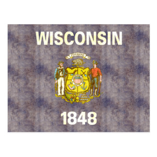 Retro Vintage Wisconsin Flag Postcard