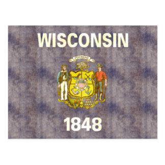Retro Vintage Wisconsin Flag Postcard