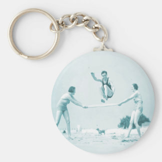 Retro Vintage Women at the Beach Bathing Keychain