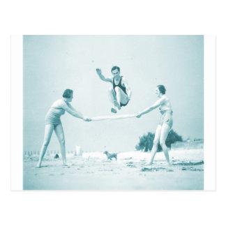 Retro Vintage Women at the Beach Bathing Postcard
