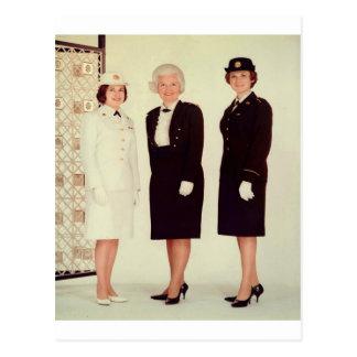Retro Vintage Women in Uniform Beautiful Strong Post Card