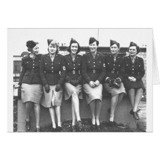 Retro Vintage Women in Uniform Military Women Card