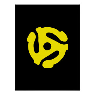 Retro Vintage Yellow 45 spacer DJ Poster
