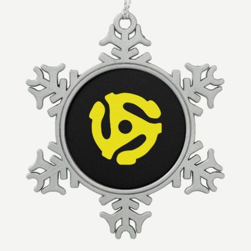 Retro Vintage Yellow 45 spacer DJ Snowflake Pewter Christmas Ornament