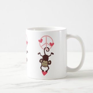 Retro Vinttage Hanging Peace Monkey - Blue or Pink Coffee Mug