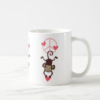 Retro Vinttage Hanging Peace Monkey - Blue or Pink Classic White Coffee Mug
