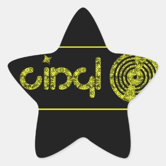 Retro Vinyl Logo - Black & Yellow Star Sticker