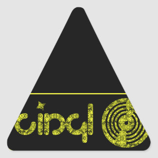 Retro Vinyl Logo - Black & Yellow Triangle Sticker