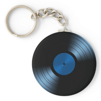 Retro Vinyl Record Album in Blue Keychain