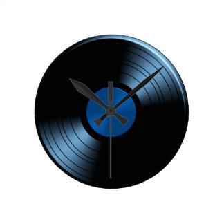 Retro Vinyl Record Album in Blue Round Clock