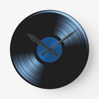 Retro Vinyl Record Album in Blue Round Clocks