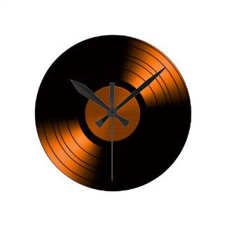 Retro Vinyl Record Album in Orange Round Clock