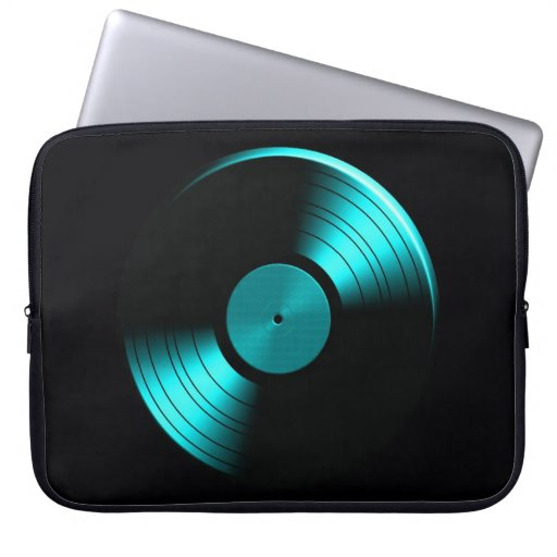 Retro Vinyl Record Album in Teal Laptop Computer Sleeve