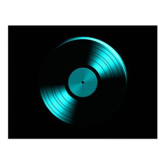 Retro Vinyl Record Album in Teal Postcard
