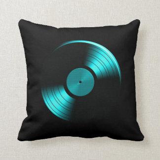 Retro Vinyl Record Album in Teal Throw Pillow