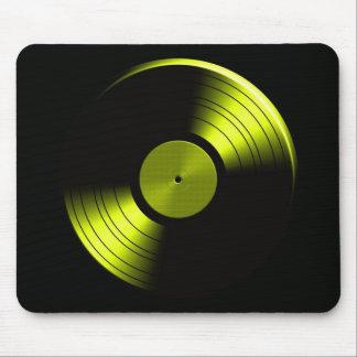 Retro Vinyl Record Album in Yellow Mousepads