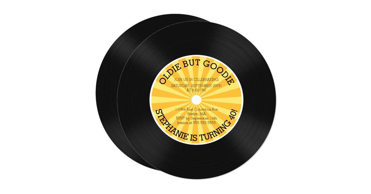 Retro Vinyl Record Birthday Party Invitation Zazzle Com