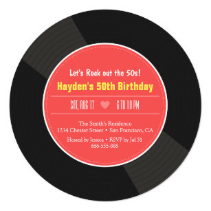 Red Records Invitations Announcements Zazzle
