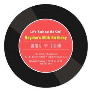 Black Vinyl Records Invitations Zazzle