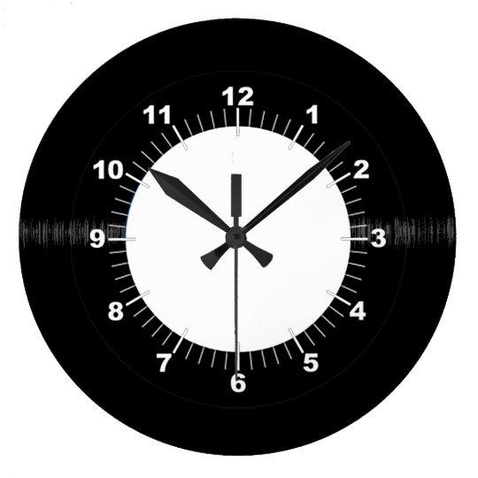 Retro Vinyl Record Black And White Wclock Face Large Clock Zazzlecom