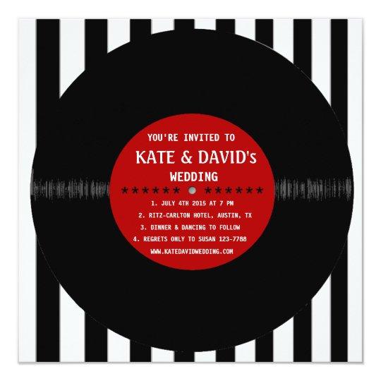 Retro Vinyl Record l Modern Wedding Invitation