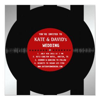 Retro Vinyl Record l Modern Wedding Invitation Personalized Announcements