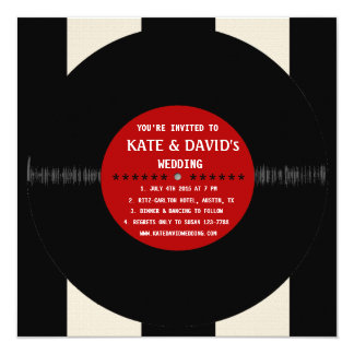 Retro Vinyl Record l Modern Wedding Invitation Invitations