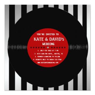 Retro Vinyl Record l Modern Wedding Invitation Announcement