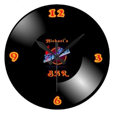 Retro Vinyl Record LP Clock Neon Bar Den Mancave