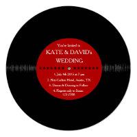 Retro Vinyl Record Modern Wedding Invites