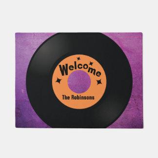 Retro vinyl record music lovers doormat