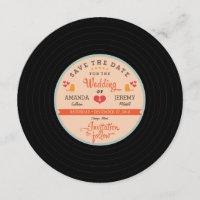 Retro Vinyl Record Orange Sky Blue Save the Date