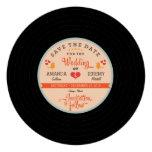 Retro Vinyl Record Orange Sky Blue Save the Date Custom Invites
