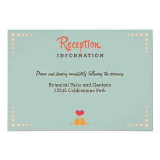 Retro Vinyl Record Orange Sky Blue Wedding Insert 3.5x5 Paper Invitation Card