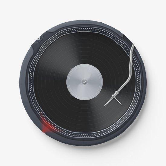 "Retro vinyl record Paper Plates 7"""