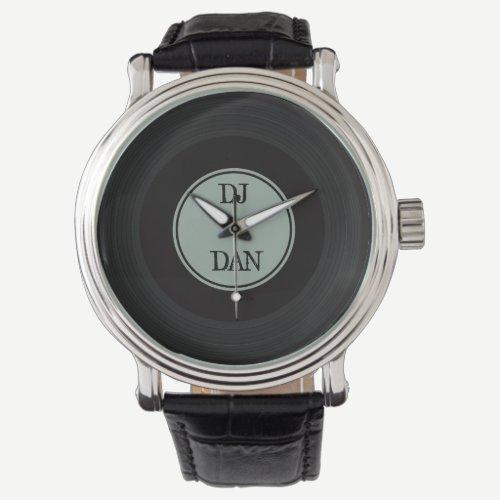 Retro Vinyl Record Personalized DJ Musician Name Wrist Watch