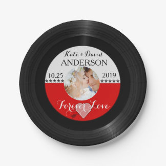 Retro Vinyl Record Photo Post-Wedding Party Custom Paper Plate