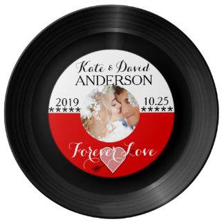 Retro Vinyl Record Photo Wedding Date Anniversary Plate