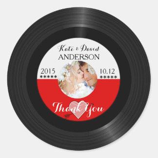 Retro Vinyl Record Photo Wedding Favor Thank You Round Stickers