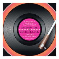 Retro Vinyl Record Player / Modern Wedding Invites