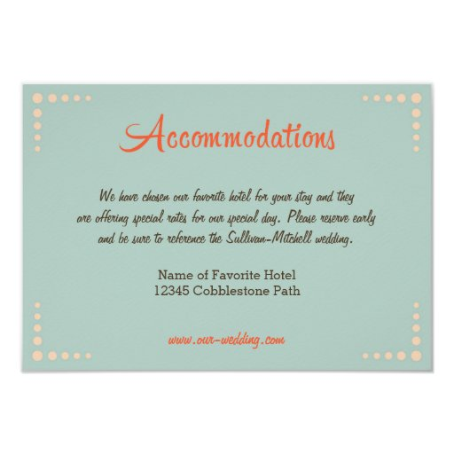 Retro Vinyl Record Sky Blue Wedding Accommodations Card