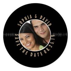 Retro Vinyl Record Wedding Photo Save The Date Card at Zazzle