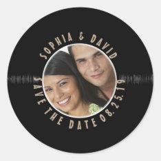 Retro Vinyl Record Wedding Photo Save The Date Classic Round Sticker at Zazzle