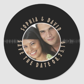 Retro Vinyl Record Wedding PHOTO SAVE THE DATE Classic Round Sticker