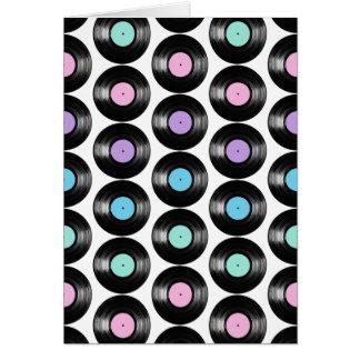 Retro Vinyl Records Colorful Pattern Design Note Card