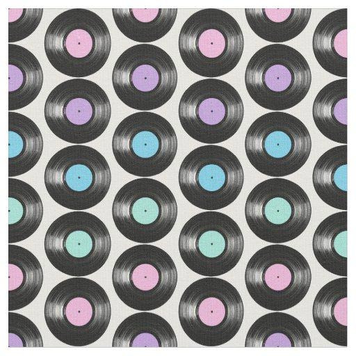 Retro Vinyl Records Colorful Pattern Design Fabric Zazzle