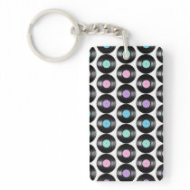 Retro Vinyl Records Colorful Pattern Design Keychain