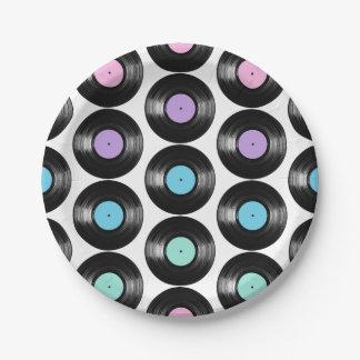 Retro Vinyl Records Colorful Pattern Design Paper Plate