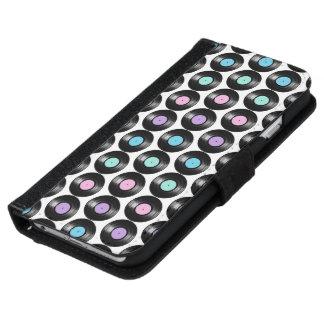 Retro Vinyl Records Colorful Pattern Design iPhone 6 Wallet Case