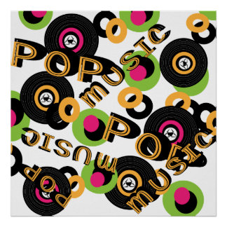 Retro Vinyl Records Pop Music Theme Poster